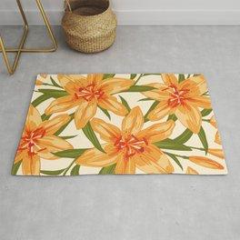 Orange Lilies. Flower illustration Rug