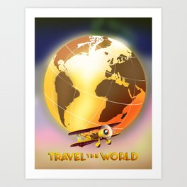Travel The World Vintage style travel poster Art Print