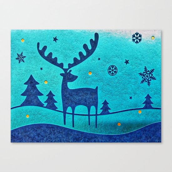 Capri Winter Reindeer Canvas Print