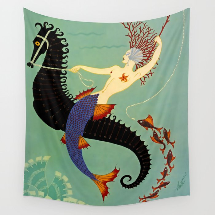 "Art Deco Illustration ""Water"" Wall Tapestry"