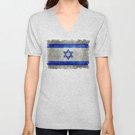 Israeli National Flag in grungy retro style שְׂרָאֵל Unisex V-Neck