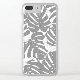 Monstera deliciosa Minimalistic black and white Clear iPhone Case
