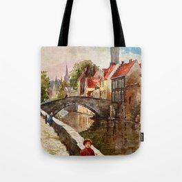 Vintage retro style Bruges travel advertising Tote Bag