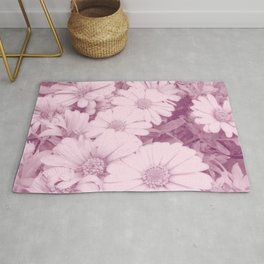 Elegant blush pink white daises botanical floral Rug