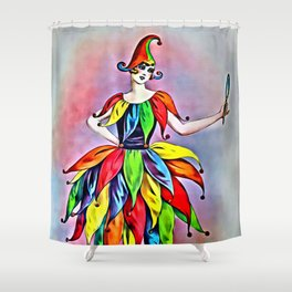 ART DECO LADY IN HARLEQUIN Shower Curtain
