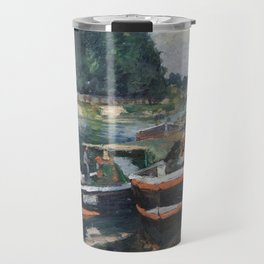Barges On Pontoise 1872 By Camille Pissarro | Reproduction | Impressionism Painter Travel Mug