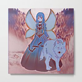 Wolf Princess Green Faery Metal Print
