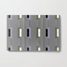 White Hairline Gray Squares Metal Print