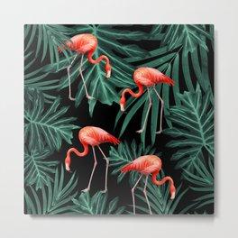 Summer Flamingo Jungle Night Vibes #2 #tropical #decor #art #society6 Metal Print