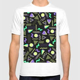 Geometrical retro lime green neon purple 80's abstract pattern T-shirt