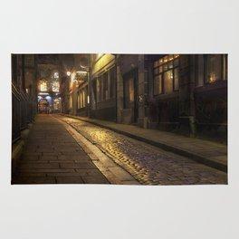 Cobbles street at night Rug
