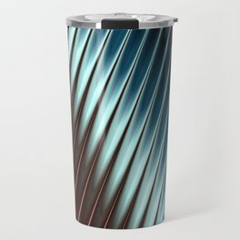 Stripey Pins Teal & Taupe - Fractal Art Travel Mug