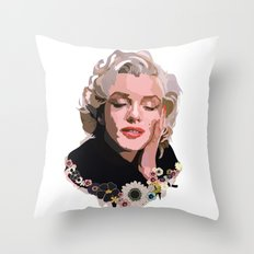 Marilyn Monroe with Flowers Throw Pillow