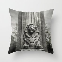 Vancouver Raincity Series - Lion at the Gate - Black and White Throw Pillow
