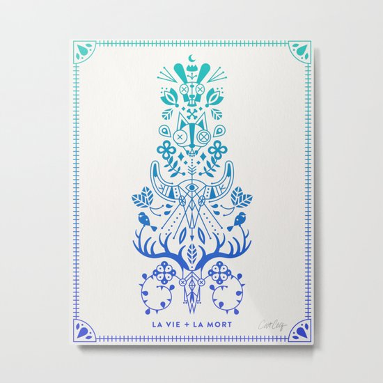 La Vie & La Mort – Blue Ombré Metal Print