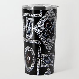 Black White Blue Red Mosaic Print Travel Mug