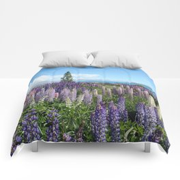 Colorful lupine towers Comforters
