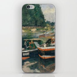 Camille Pissarro - Barges at Pontoise (1876) iPhone Skin