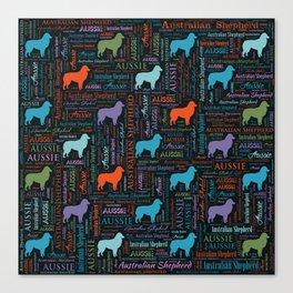 Australian Shepherd Aussie Word Art Canvas Print