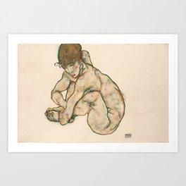 "Egon Schiele ""Crouching nude girl"" Art Print"