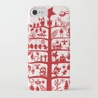blankets iPhone & iPod Cases featuring CHRISTMAS TREE red ITINERANT by Chicca Besso