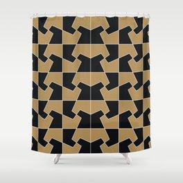 Abstract hexagon periodic tessellation pattern gamboge black Shower Curtain