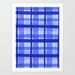 Tissue Paper Plaid - Blue Art Print