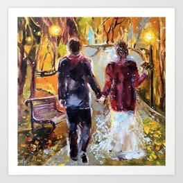 Couple fall in love, family wife and husband, Valentine's Day postcard, wedding, homeymoon, wedding Art Print