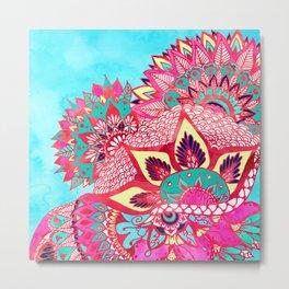 Bohemian boho red blue floral paisley pattern Metal Print