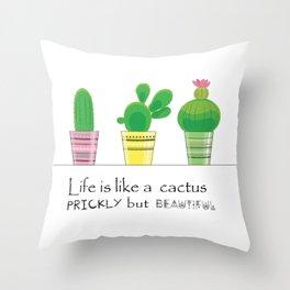 cute tribal cactus Throw Pillow