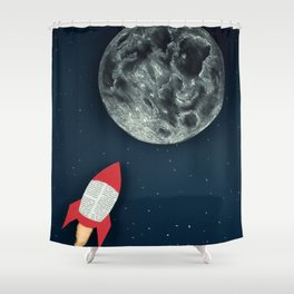 Rocket to the Moon Shower Curtain