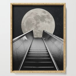 Lunar Escalator - A Surreal Starry Night Sky Digital Collage by NSApparel Serving Tray