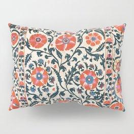 Shakhrisyabz Suzani  Uzbekistan Antique Floral Embroidery Print Pillow Sham