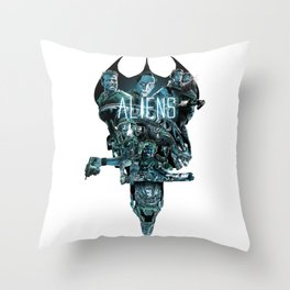 Aliens Illustration Tribute Throw Pillow