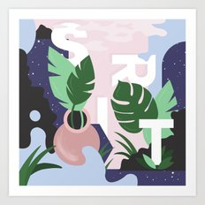 Ferns and Letters Art Print