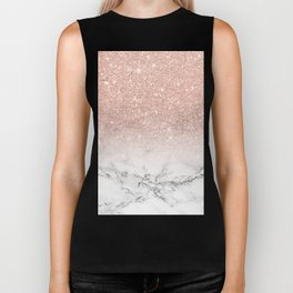 Modern faux rose gold pink glitter ombre white marble Biker Tank