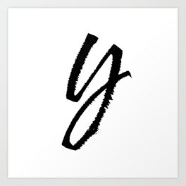 Letter Y Ink Monogram Art Print