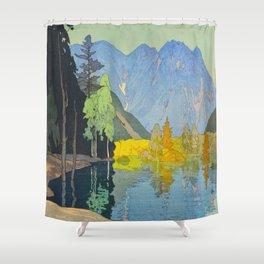 Hodaka Mountain Hiroshi Yoshida Vintage Japanese Woodblock Print Shower Curtain