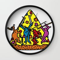 keith haring Wall Clocks featuring Keith Haring & Turtle by le.duc