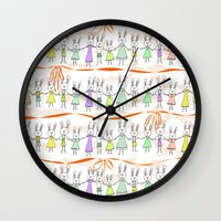 bunnies Wall Clocks featuring Bunnies by Anchobee