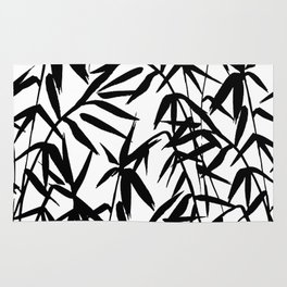 Black Bamboo on White Background Rug