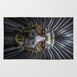 Hear Me Roar / 3D render of serious metallic robot lion Rug