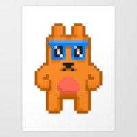 8bit Art Prints featuring 8Bit RaveBear by Bear Picnic
