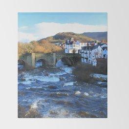 Bridge over  River Dee in spate at Llangollen, Wales Throw Blanket