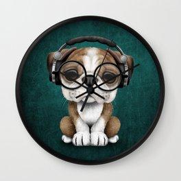 English Bulldog Puppy Dj Wearing Headphones and Glasses on Blue Wall Clock
