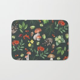 Hand painted pink red green watercolor autumn pattern Bath Mat