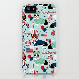 Tri Corgi Fourth of July American Independence Day July 4th Patriotic Corgis iPhone Case