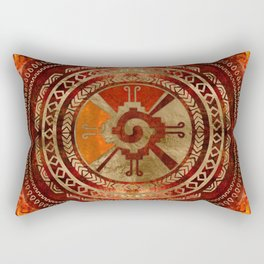 Hunab Ku Mayan symbol Burnt Orange and Gold Rectangular Pillow