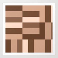 Shades of Brown Blocks Art Print