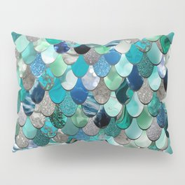 Mermaid Scales, Teal, Green, Aqua, Blue Pillow Sham